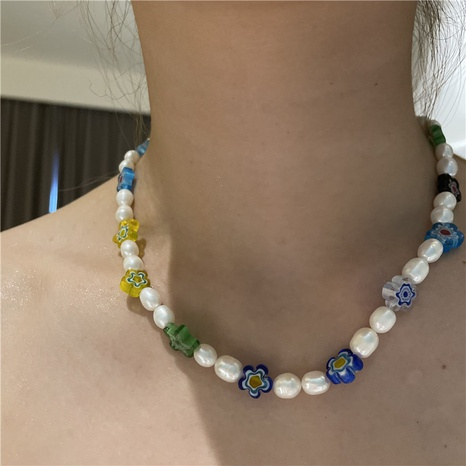 Nihaojewelry jewelry wholesale colored glaze pearl splicing short necklace  NHYQ379274's discount tags