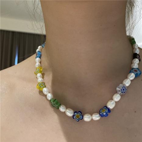 Collar corto de empalme de perlas de esmalte de color al por mayor de joyería de Nihaojewelry NHYQ379274's discount tags