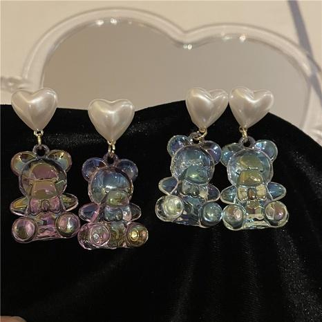 wholesale jewelry cute laser transparent bear pearl earrings Nihaojewelry NHYQ379277's discount tags