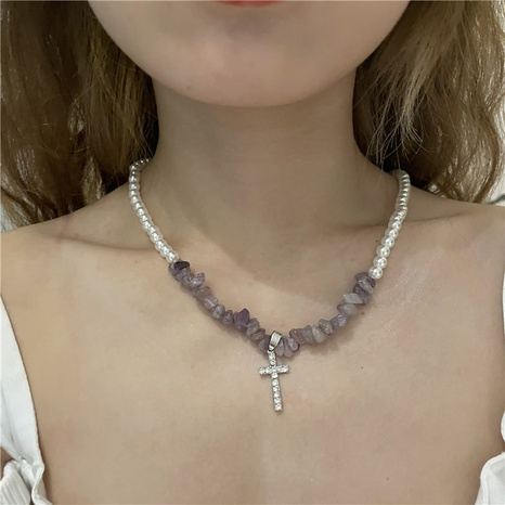 Nihaojewelry jewelry wholesale pearl tourmaline stitching chain cross pendent necklace NHYQ379281's discount tags