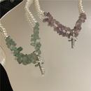 Nihaojewelry jewelry wholesale pearl tourmaline stitching chain cross pendent necklace NHYQ379281