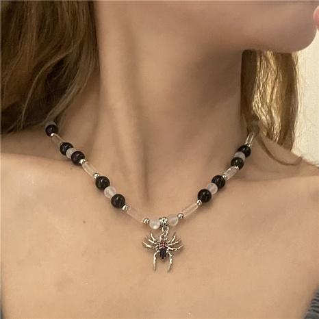 Nihaojewelry Jewelry Wholesale Spider colgante cadena de clavícula con costura de cuentas negras NHYQ379282's discount tags