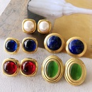 Nihaojewelry jewelry wholesale electroplating real gold gemstone pearl shell ear clip  NHOM379292