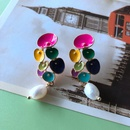 Nihaojewelry Jewelry Wholesale Contrast Color Dripping Glaze Geometric Resin Earrings  NHOM379297