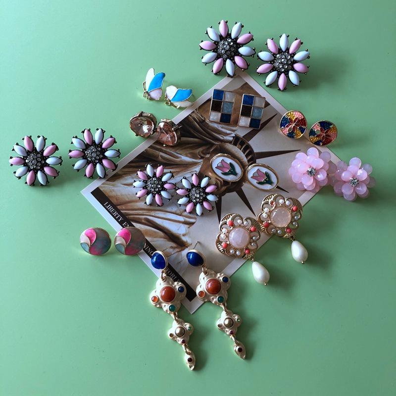 Nihaojewelry jewelry wholesale pink series stone resin drip glaze earrings NHOM379313