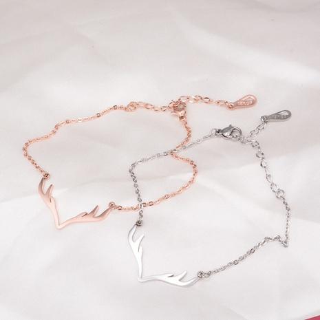 Pulsera de oro rosa de acero titanio con astas pequeñas de Nihaojewelry NHAB379326's discount tags