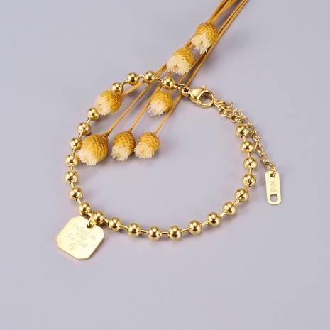 Joyería al por mayor de la pulsera de la etiqueta de la cerradura del corazón del grano redondo coreano de Nihaojewelry NHAB379333's discount tags