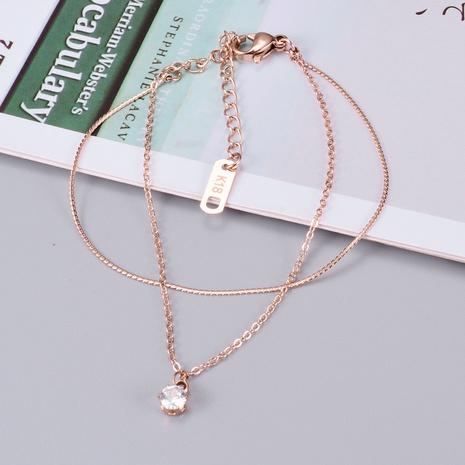 Wholesale Jewelry simple titanium steel zircon double layer bracelet Nihaojewelry NHAB379334's discount tags