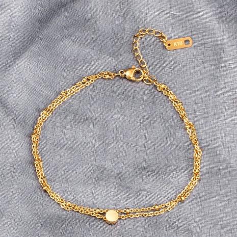 Joyería al por mayor de doble cadena de acero de titanio de frijol redondo pulsera Nihaojewelry NHAB379343's discount tags