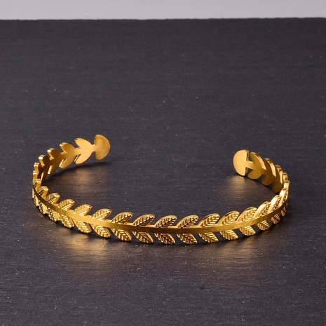 Wholesale Jewelry Tree Leaf Open Titanium Steel Bracelet Nihaojewelry NHAB379342's discount tags