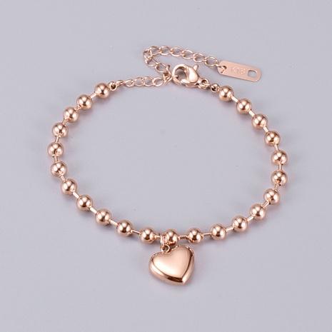 Nihaojewelry pulsera de forma de corazón de oro rosa de estilo coreano joyería al por mayor NHAB379349's discount tags