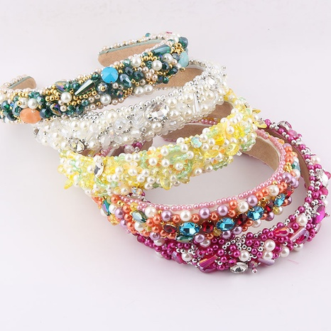 Al por mayor joyería barroca esponja perla cristal diamante diadema Nihaojewelry NHWJ379373's discount tags