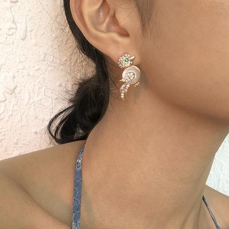 nihaojewelry retro full diamond bird pearl earrings wholesale jewelry NHMD379403's discount tags