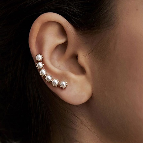 wholesale jewelry simple metal pearl flower ear bone clip Nihaojewelry NHDP379428's discount tags