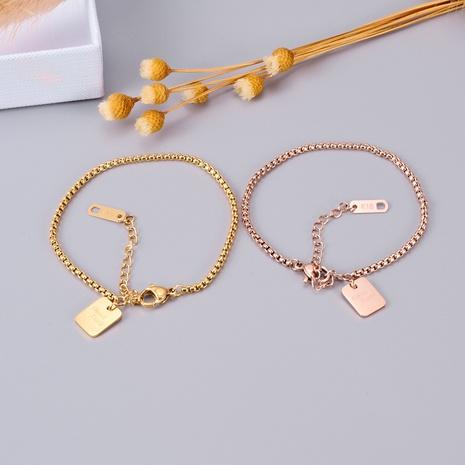 Joyería al por mayor pulsera de oro rosa de 18 quilates de marca rectangular NHAB379497's discount tags