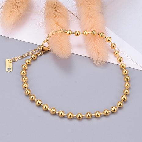 Joyería al por mayor de la pulsera de acero titanium del grano redondo simple de Nihaojewelry NHAB379498's discount tags