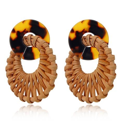 Großhandel Schmuck Leopard Acryl gewebte kreisförmige Rattanohrringe Nihaojewelry NHXI379542's discount tags