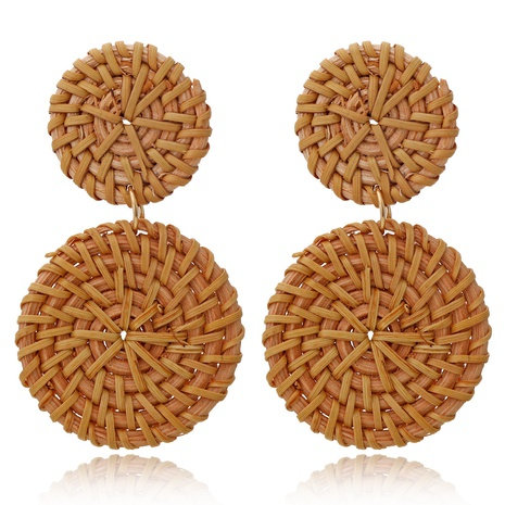 Großhandel Schmuck gewebte geometrische kreisförmige Rattanohrringe Nihaojewelry NHXI379543's discount tags