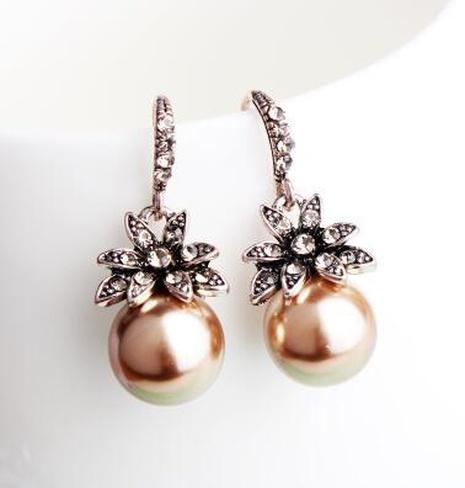 Nihaojewelry jewelry wholesale retro fashion sun flower matt pearl earring  NHXI379545's discount tags