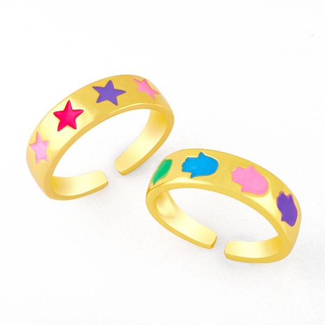 nihaojewelry simple star dripping oil copper open ring wholesale jewelry NHAS379561's discount tags