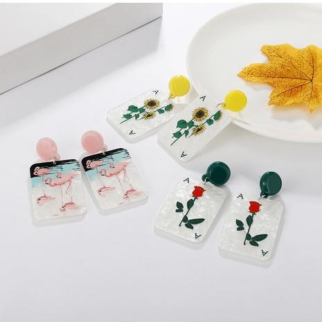 Nihaojewelry jewelry wholesale Korean rose flower card letter square acrylic earrings NHAYN379595's discount tags