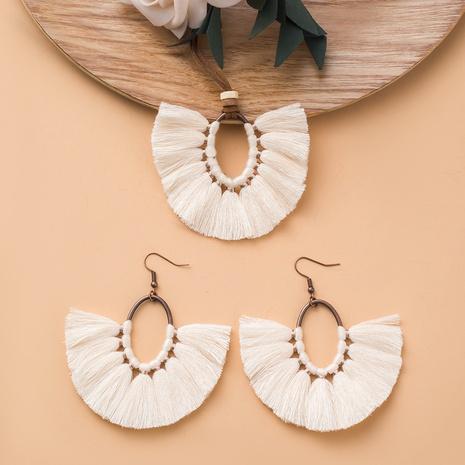 Nihaojewelry tassel oval fan-shaped long necklace earrings set Wholesale Jewelry NHAKJ379616's discount tags