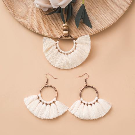 Nihaojewelry geometric oval fan-shaped tassel necklace earrings set Wholesale Jewelry NHAKJ379617's discount tags