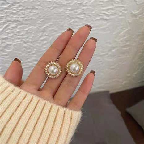 nihaojewelry simple round pearl stud earrings wholesale jewelry NHPA379638's discount tags