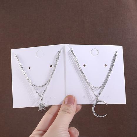 Nihaojewelry, collar con colgante de media luna de diamantes simples, joyería al por mayor NHPA379642's discount tags