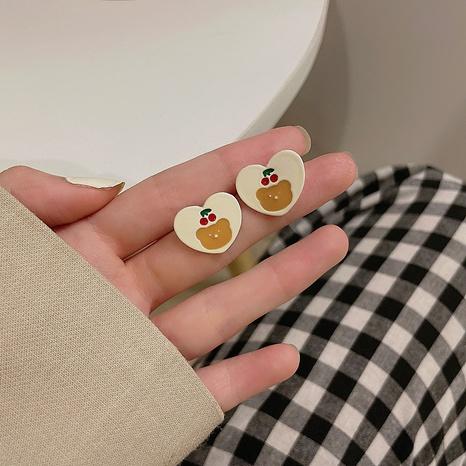 Nihaojewelry joyas al por mayor nuevos clips de oreja en forma de corazón de oso de cereza coreano NHPA379646's discount tags