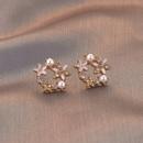 Nihaojewelry jewelry wholesale Korean dripping oil diamond pearl stud earrings   NHPA379652