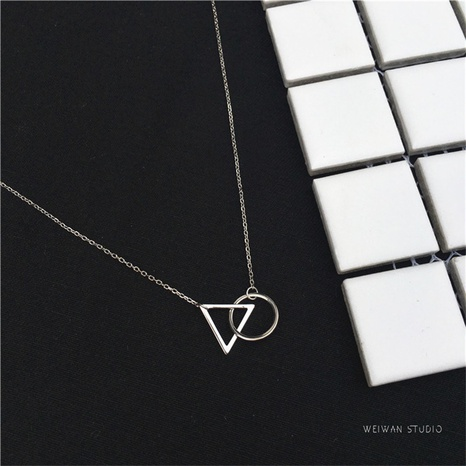 Nihaojewelry jewelry wholesale Korean s925 sterling silver triangle round short necklace  NHLON379662's discount tags