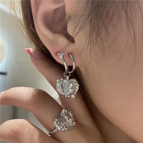 nihaojewelry simple corazón colgante de piedras preciosas pendientes joyería al por mayor NHYQ379671's discount tags