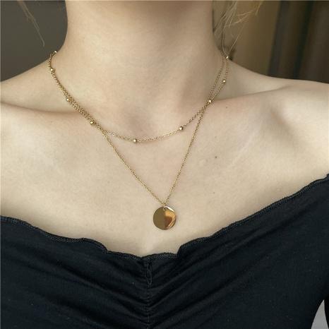 Nihaojewelry joyería al por mayor colgante de moneda redonda collar de doble capa de acero de titanio NHYQ379678's discount tags