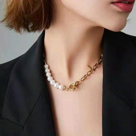 Nihaojewelry jewelry wholesale geometric golden natural baroque pearl necklace  NHJIE379729's discount tags