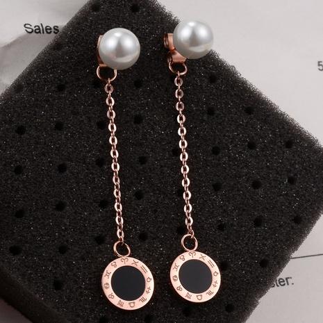 Nihaojewelry Jewelry Wholesale Rose Gold Long Line Pearl Tassel Titanium Steel Earring  NHAB379733's discount tags