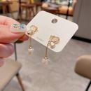 nihaojewelry Korean style butterfly pearl tassel copper earrings wholesale jewelry NHCG379749