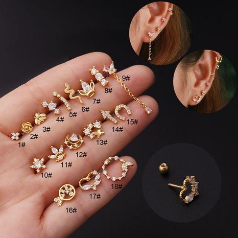 Nihaojewelry joyas al por mayor nuevo acero inoxidable zircon piercing oreja hueso clavos NHEN379764's discount tags