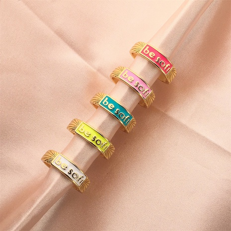 nihaojewelry simple letters dripping oil copper open ring wholesale jewelry NHPY379771's discount tags