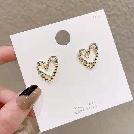 nihaojewelry moda pendientes de botón en forma de corazón de doble capa joyería al por mayor NHDQ379808's discount tags