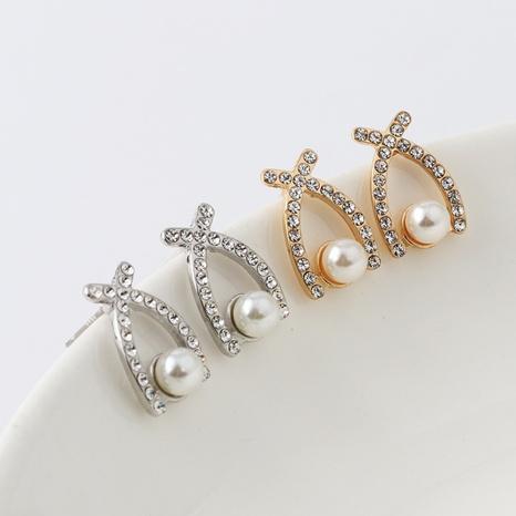 nihaojewelry fashion crossing pearl inlaid diamond earrings wholesale jewelry NHDQ379811's discount tags