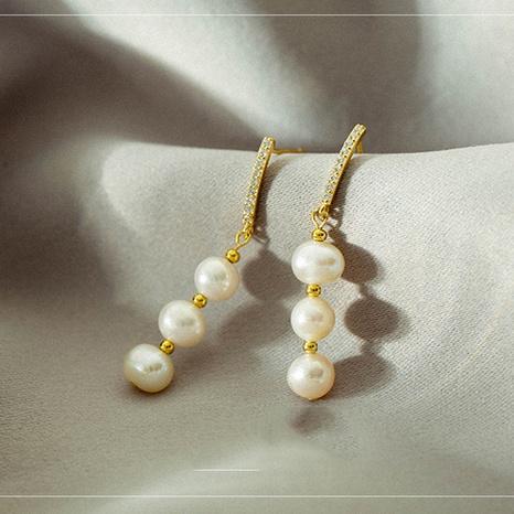 nihaojewelry simple pearl tassel copper earrings wholesale jewelry NHLON379835's discount tags