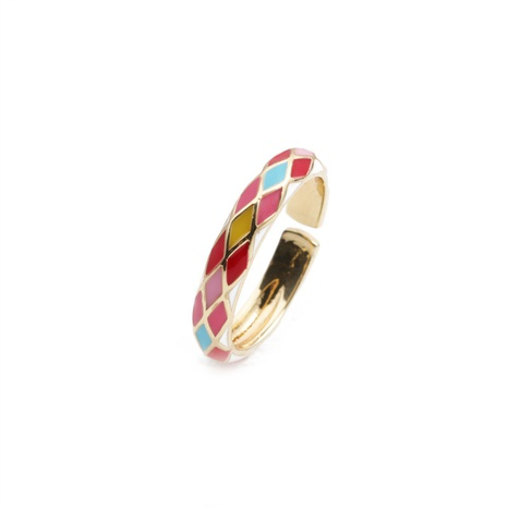 nihaojewelry fashion dripping oil plaid copper open ring wholesale jewelry NHYL379867's discount tags