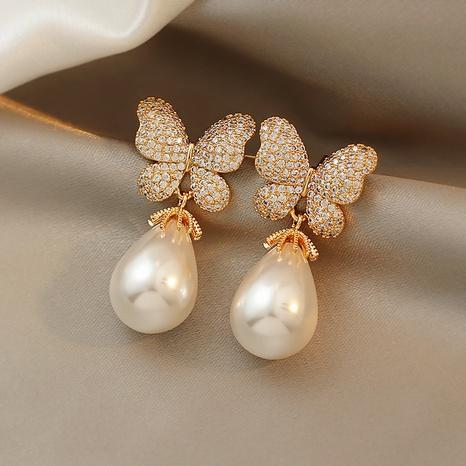 nihaojewelry fashion pearl diamond butterfly earrings wholesale jewelry NHQIY379902's discount tags