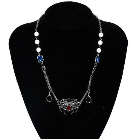 Nihaojewelry Punk Style Spider Gems Detachable Pendant Pearl Necklace Wholesale Jewelry NHNT379914's discount tags
