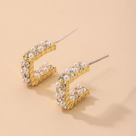 nihaojewelry simple inlaid rhinestone pearl square earrings wholesale jewelry NHNJ379923's discount tags