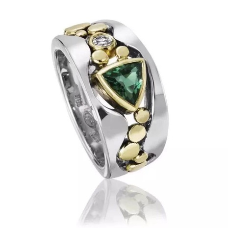 Nihaojewelry wholesale jewelry ethnic style hollow pattern inlaid green zircon copper ring NHBOJ380629's discount tags
