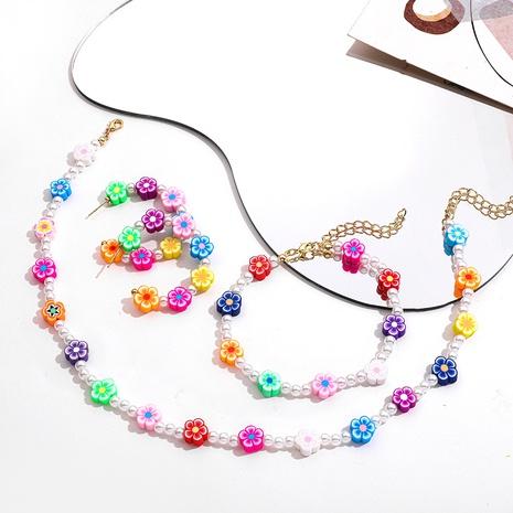 Nihaojewelry Color Flower Pearl Necklace Bracelet Earrings Jewelry Wholesale  NHLL379941's discount tags