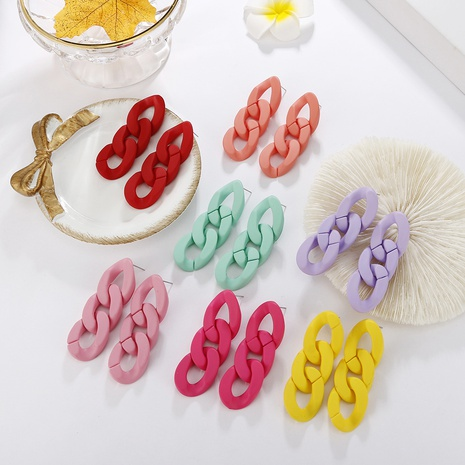 Nihaojewelry jewelry wholesale hollow chain candy multicolor acrylic earrings NHAYN379947's discount tags