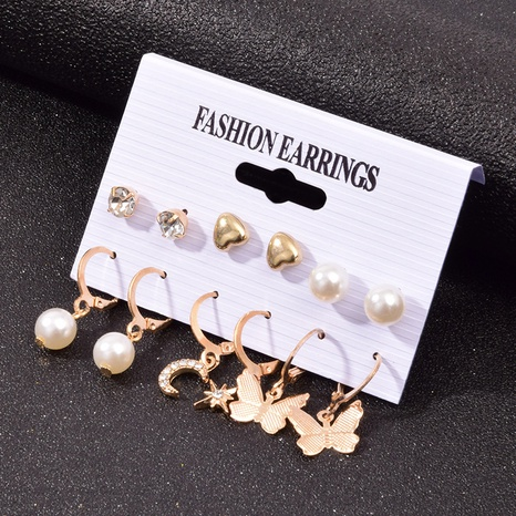 Nihaojewelry jewelry simple star moon pearl butterfly ear buckle set wholesale NHSD379949's discount tags